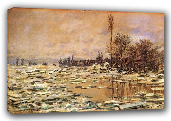 Monet, Claude: Drift Ice at Vetheuil. Fine Art Landscape Canvas. Sizes: A3/A2/A1 (00754)
